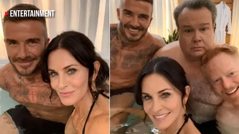 Courteney Cox and David Beckham in Modern Family cameos